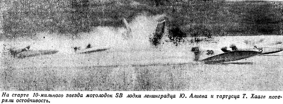Лодки ленинградца Ю. Алиева и тартусца Т. Хааге потеряли остойчивость