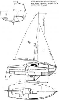 Мини-яхта из гребной лодки «Пелла»: общий вид и поперечные сечения