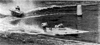 Момент борьбы советского гонщика В. Камардина и шведского спортсмена Г. Шторма