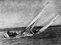 Момент гонки крейсерских яхт с полными экипажами