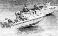На дистанции 10-мильной скоростной гонки «Нептун» (№77) с двумя «Ветерками-15» команды УМЗ