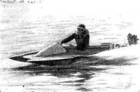 На скутере класса ОС дважды чемпион СССР 1980 г. м. с. м. к. Е. Степанов (РСФСР)