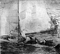 На затопленной байдарке под парусами