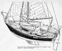Небольшая яхта, оснащенная устройствами для закрутки грота, стакселя и двойного спинакера