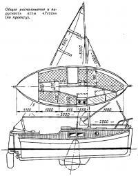 Общее расположение и парусность яхты «Гетан»