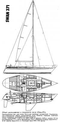 Общее расположение и парусность яхты «Свон-371»