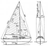 Общий вид и парусность яхты «Восток»