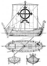 Общий вид и план парусности судна