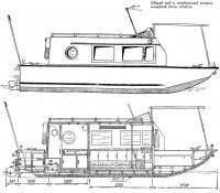 Общий вид и продольный разрез плавучей дачи «Янта»