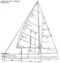 Общий вид лодки с парусным вооружением