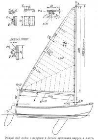 Общий вид лодки с парусом и детали крепления паруса к мачте