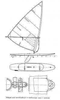 Общий вид виндсерфера и соединение гика с мачтой