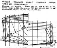 Обводы (проекция корпус) серийного катера «НКЛ-27»