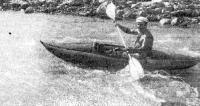 Один из первых образцов байдарки во время испытаний на горных реках Кавказа