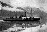 Основное судно экспедиции Ф. К. Дриженко — пароход «Иннокентий» на фоне Синей горы