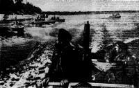Отряд полуглиссеров выходит на задание во время боев за Пинск