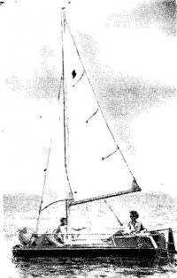 Пластмассовый катамаран под парусами