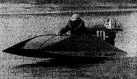 Победитель этапа в классе SB-350 м. с. В. Усолкин (Куйбышев) на катамаране своей конструкции