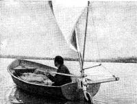 Подвесной парус на пластмассовой гребной лодке «Пелла»