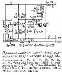 Принципиальная схема электронного тахометра катера «Амур-М»