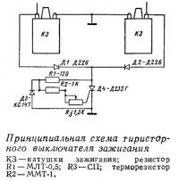 Принципиальная схема тиристорного выключателя зажигания