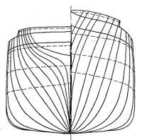 Продольный разрез корпуса и планы палуб