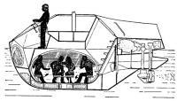 Продольный разрез полупогруженного аппарата — акваскопа типа «А/8»