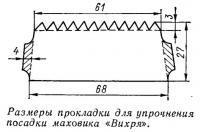 Размеры прокладки для упрочнения посадки маховика «Вихря»