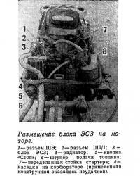 Размещение блока ЭСЗ на моторе