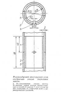 Рекомендуемая конструкция узла соединения секций дюралевой мачты