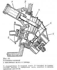 Рис. 11. Установка колонки с наклонным валом в транце
