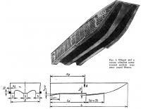 Рис. 1. Общий вид и схема обводов испытанной модели морских саней Фокса