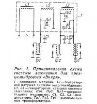 Рис. 1. Принципиальная схема системы зажигания для трехцилиндрового «Вихря»