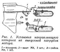 Рис. 1. Установка направляющего козырька на выпускной патрубок мотора