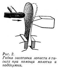 Рис. 2. Гибка заготовки лопасти в тисках при помощи молотка и поддержки