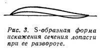Рис. 3. S-образная форма искажения сечения лопасти при ее развороте