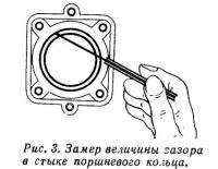 Рис. 3. Замер величины зазора в стыке поршневого кольца