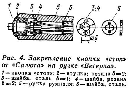 Рис. 4. Закрепление кнопки «стоп» от «Салюта» на ручке «Ветерка»