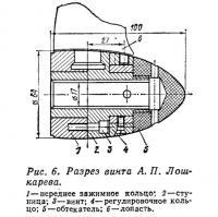 Рис. 6. Разрез винта А. П. Лошкарева