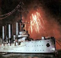 Салют над крейсером «Аврора»