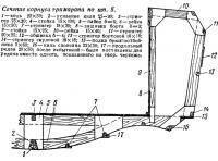 Сечение корпуса тримарана по шп. 5