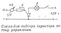 Схема для подбора тиристора по току управления