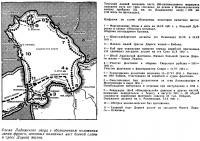 Схема Ладожского озера с обозначением положения линии фронта