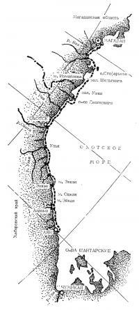 Схема маршрута на Охотском море