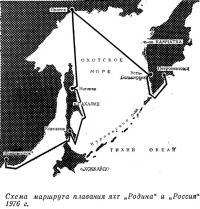 Схема маршрута плавания яхт «Родина» и «Россия» 1976 г.