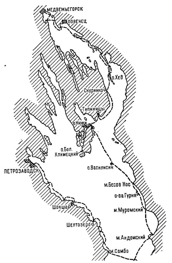 Схема маршрута по Онежскому озеру