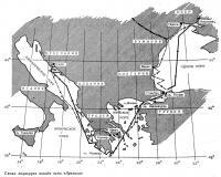 Схема маршрута похода яхты «Арктика»