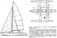 Схема парусности и общий вид тримарана «Фёд Тартл»