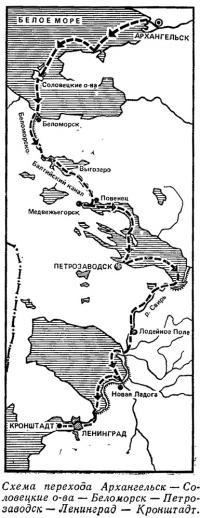 Схема перехода Архангельск — Кронштадт