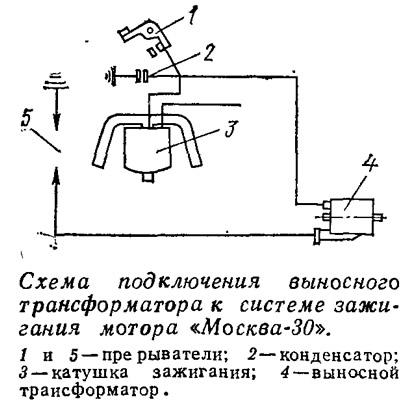 Схема подключения трансформатора к системе зажигания «Москва-30»